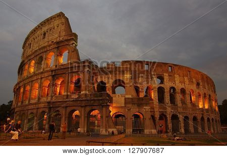 ROME Italy - SEPTEMBER 27: Colosseum on September 27 2011 in Rome Italy. Colosseum is one of Rome's most popular tourist attractions