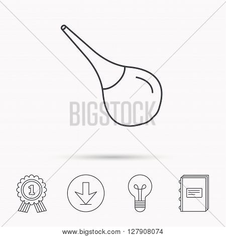 Medical clyster icon. Enema sign. Download arrow, lamp, learn book and award medal icons.
