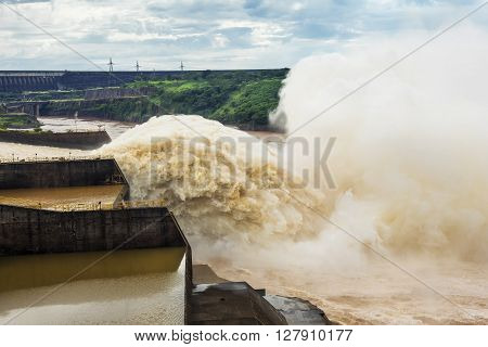 Spillway at Itaipu Dam, one of the seven modern Wonders of the World, on the border of Brazil and Paraguay.