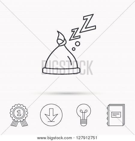 Baby hat with nodule icon. Newborn cap sign. Toddler sleeping clothes symbol. Download arrow, lamp, learn book and award medal icons.