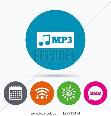Wifi, Sms and calendar icons. Mp3 music format sign icon. Musical symbol. Go to web globe.