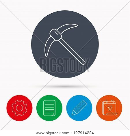 Mining tool icon. Pickaxe equipment sign. Minerals industry symbol. Calendar, cogwheel, document file and pencil icons.