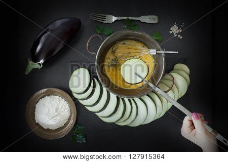 Dip Eggplant Slice In Egg