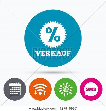 Wifi, Sms and calendar icons. Verkauf - Sale in German sign icon. Star with percentage symbol. Go to web globe.