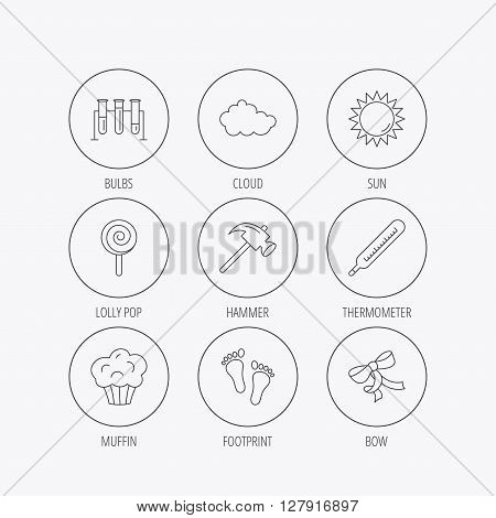 Footprint, lab bulbs and thermometer icons. Muffin, bow and lolly pop linear signs. Cloud and sun flat line icons. Linear colored in circle edge icons.