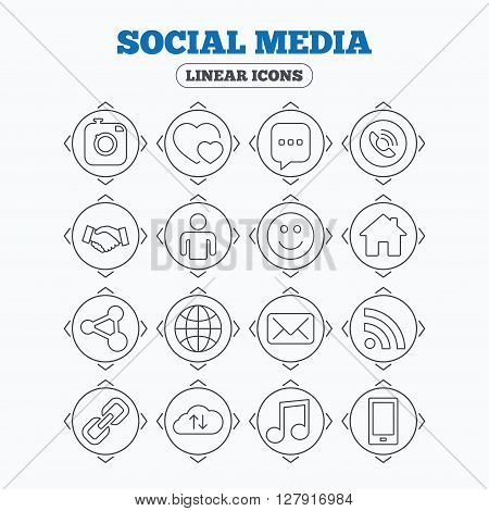 Linear icons with direction arrows. Social media icons. Speech bubble, lovers relationships and human person. Rss, share and mail envelope. Musical note, smartphone and smile. Circle buttons.