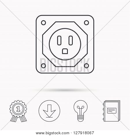 USA socket icon. Electricity power adapter sign. Download arrow, lamp, learn book and award medal icons.