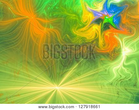 Abstract festive background computer-generated color image. Divergent rays and chaotic curves, like fireworks. Vivid background for covers, posters, prints.