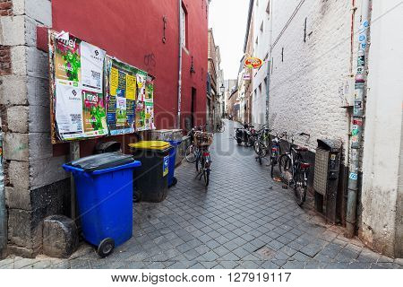 Maastricht Netherlands - April 11 2016: alley in the old town of Maastricht. Maastricht is a university city and the capital of the Dutch province Limburg