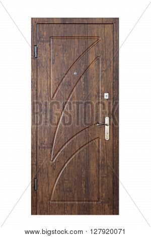 Closed palisander wooden door isolated at white background. Image of a closed door. Entrance to apartment. Dark brown wood, designed and textured front door with lock and handle. Modern Door design.