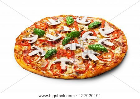 Delicious pizza with mushrooms, peppers and bacon - thin pastry crust isolated at white background. Italian food. Pizza isolated.