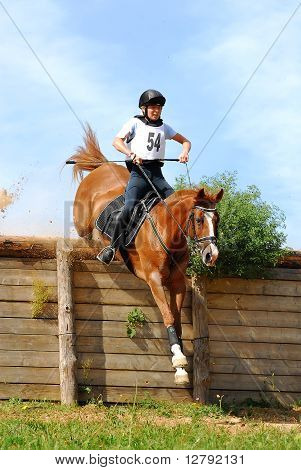 Triathlon in Russia, horseback jumping