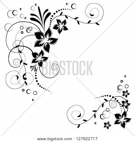 Flower corner in vector. Black flowers on white background. Flowery invitation card. Background with floral elements.