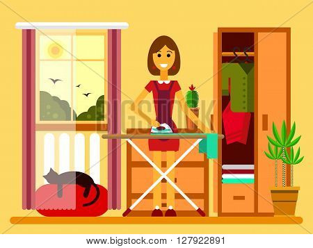 Flat illustration of young beautiful woman ironing on iron board. Woman ironing flat style. Woman ironing clothes.