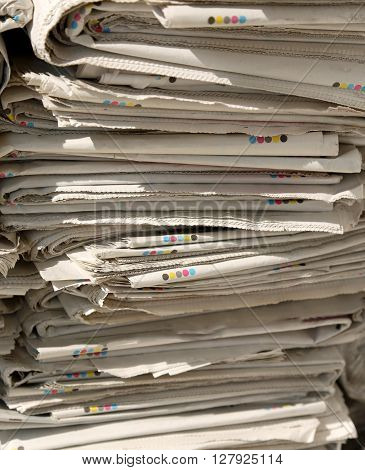 Pile Of Newspapers In The Ecocentre Will Become Recycled Paper