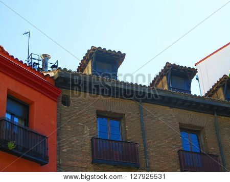 Close-up of Madrid Apartment block with roof extentions
