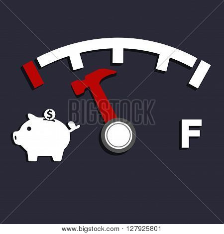 Saving level in fuel level concept and pig bank