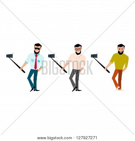 Set of smiling male with a beard hipster take photos selfie stick in the style of cartoons and flat isolated on white background