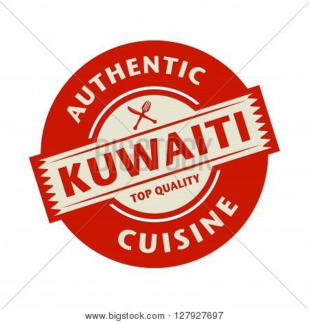 Abstract stamp or label with the text Authentic Kuwaiti Cuisine written inside, vector illustration