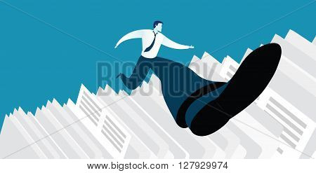 Vector illustration of businessman successful in overcoming paperwork challenge