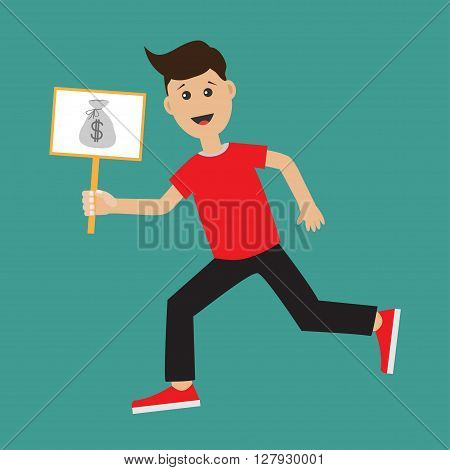 Funny cartoon running guy Boy character Businessman hand holding paper blank sign plate with money bag on the stick Flat design Isolated White background. Flat design Vector illustration