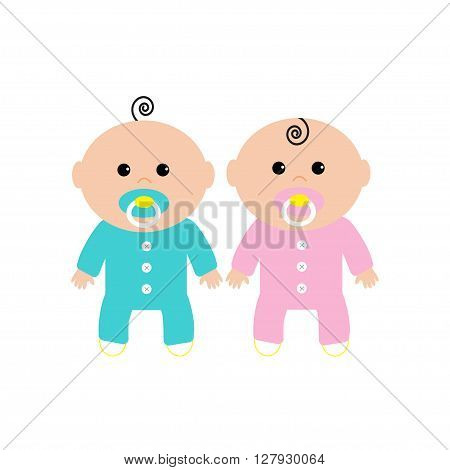 Twins Two cute twin babies on white background. Baby girl and a baby boy. Funny character set. Isolated. Flat design Vector illustration