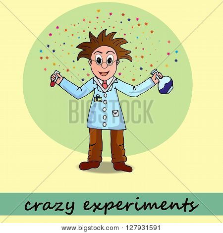 chemist, vector, illustration, man, cartoon, character  science, scientist, doctor, medical, portrait, people, drug, chemistry, happy, icon