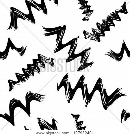 Seamless pattern with spiral curls and waves. Hand-drawn grange doodle. Vector. Hand drawn vector elements. For your design, web, package, book, ads. vector black white seamless background.