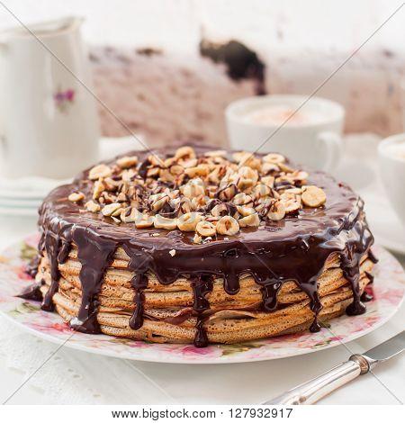 Chocolate and Hazelnut Crepe Cake Maslenitsa square poster
