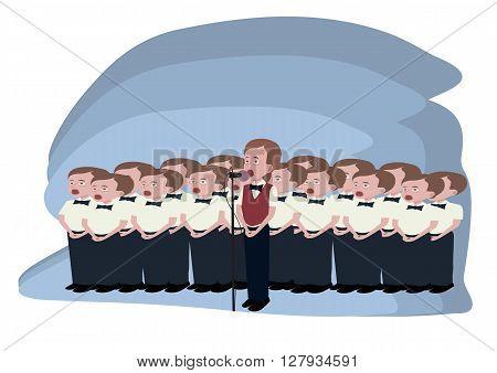 boys choir  - funny cartoon illustrating groupe of singing boys