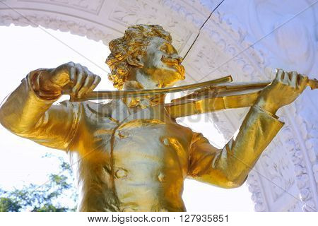 The statue of Johann Strauss in Stadtpark Vienna Austria
