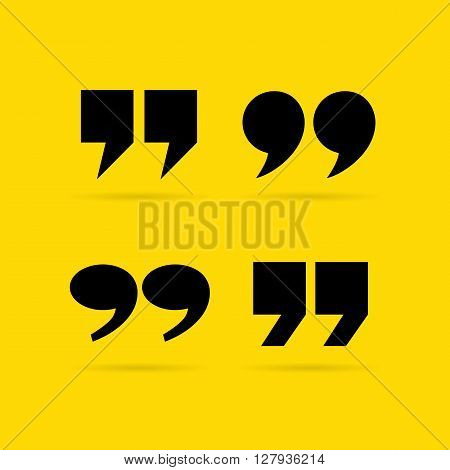 Inverted quote commas isolated on yellow background
