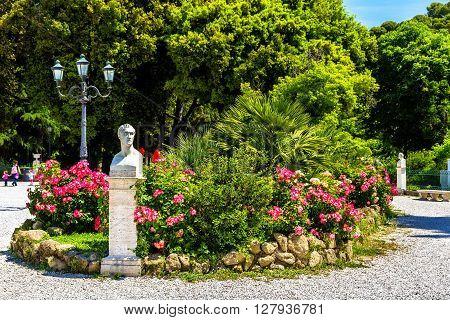 Statue of Antonio Canova on Piazzale Napoleone I in Rome, Italy
