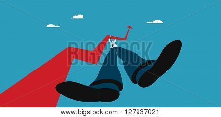 Business growth concept. Businessman holding an arrow