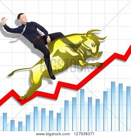 Businessman is on the jumping gold bull on red arrow downward trend line on background of  graphic of  fund. Fight back bullish market concept.