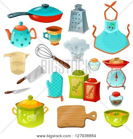 Cooking decorative icons set of kitchen utensils with frying pan pot teapot whisk scales apron and gloves isolated vector illustration