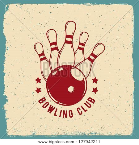 bowling emblem. logotype template on retro grunge background. vector illustration