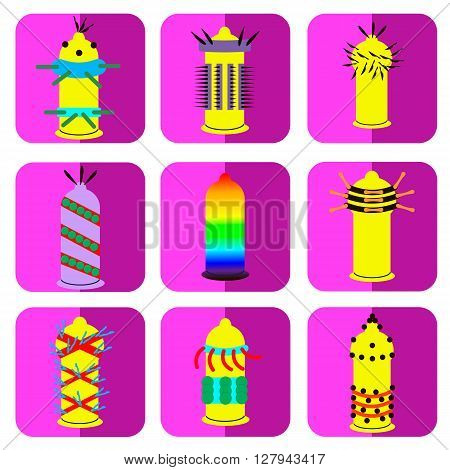 condom set extreme pleasure vector flat design illustration