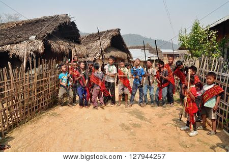 Group Of Young Warriors In Nagaland, India