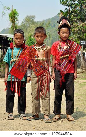 Three Young Warriors In Nagaland, India