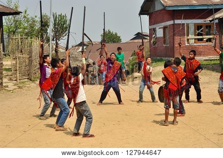 Dance Of Young Warriors In Nagaland, India