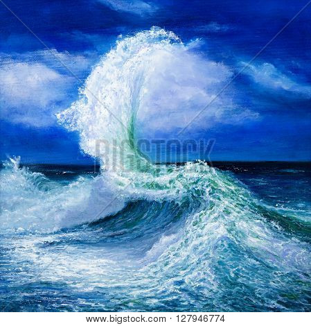 Original oil painting showing waves in ocean or sea on canvas. Modern Impressionism modernismmarinism