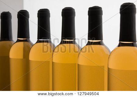 White Wine's Bottles in Line, beverage Theme