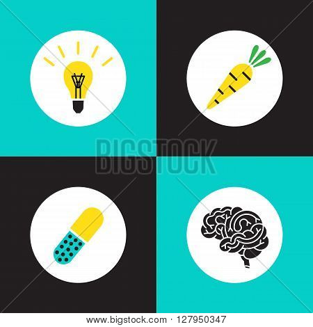 Vector logo brain set. Brain vitamins. Brain health illustration. Vitamins in pill vegetable idea and brain. Brain function icons. Brain work pictogram.