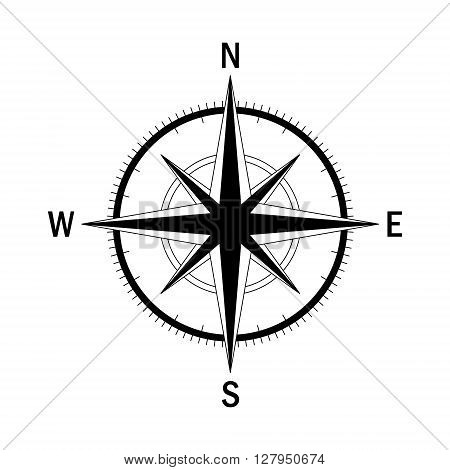Vector compass. Vector geo mark Wind Rose. Isolated vector compass. Rose Wind in lineal style. Image of Compass for Columbus Day. Vector marine wind rose for travel navigation design.