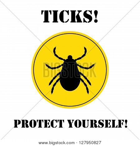 Vector insect tick silhouette. Dangerous tick parasite area. Vector mite beetle. Tick icon isolated. Vector tick bug. Tick parasite warning sign. Ticks protection. Mite skin parasite. poster