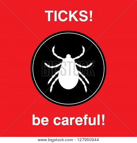 Vector insect tick silhouette. Dangerous tick parasite area. Vector mite beetle. Tick icon isolated. Vector tick bug. Tick parasite warning sign. Ticks protection. Mite skin parasite.