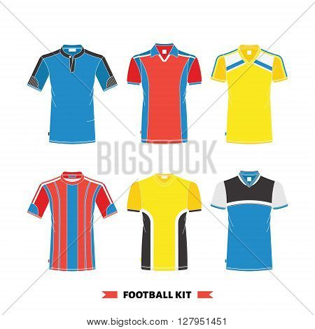 Vector soccer uniform. Vector soccer jersey. Football kit set. Isolated soccer jersey on white background. Soccer jersey set.