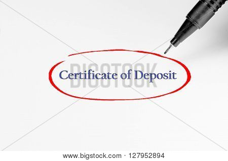 Certificate Of Deposit On White Paper - Business Concept
