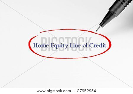 Home Equity Line Of Credit On White Paper - Business Concept